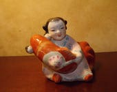 Vintage Chinese Girl with Koi Porcelain Figurine or fountain Feng Shui