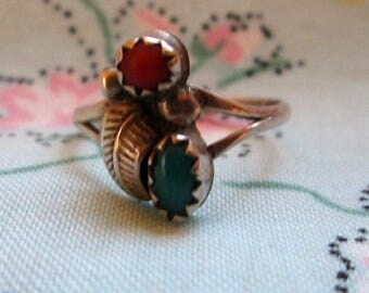 RING  - TURQUOISE - CORAL - 925 - Sterling Silver - size 4 1/2 -  Turquoise190