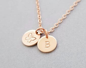 Rose Gold Initial Necklace 2 initial discs personalized hand stamped letter christmas gifts for women initial necklace custom initial
