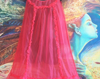 Nightgown, Valentines, RED, Vintage, Lingerie, Sexy, Pin up, 60s, size S/M
