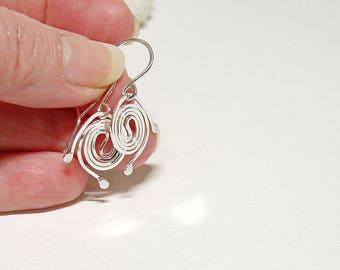 Sterling Silver Spiral Small Drop Earrings, Handmade Everyday Earrings, Lightweight Jewelry