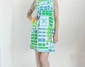 The Malia Dress | 1970s Floral Racerback Mini Dress | Vintage 70s Blue Green White Open Back Mini Dress | RARE | XS Small S