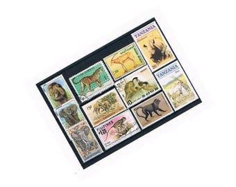 Wild Animal Postage Stamps | lion, elephant, rhino, giraffe, monkey - vintage world wildlife postal stamps | papercraft, collage, upcycle