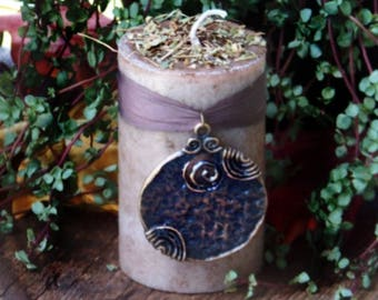 "KELTEN™ ""Celtic Lights""™ ""Old European Witchcraft""™ Brown Pillar Candle w/ Celtic Spiral Pendant on Silk, Druid Herbs Oak, Ash & Thorn"