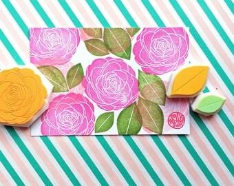 camellia rubber stamp, flower stamp, leaf stamp, botanical hand carved stamps, japanese stamp, spring crafts, set of 3, no2