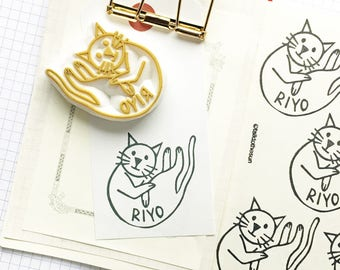 custom cat rubber stamp | personalized name stamp | bookplate | diy card making | cat lover craft gift | hand carved by talktothesun