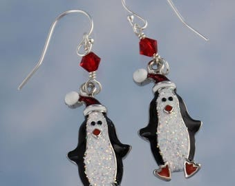 Sparkly Penguin in a Santa Hat Earrings- black and white enameled charms on sterling silver hooks- Winter Christmas Fun- Free Shipping USA