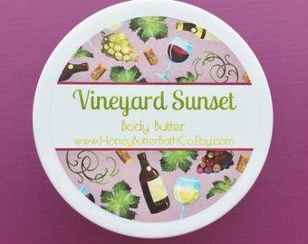 Vineyard Sunset Body Butter | Lotion | Cream | Wine | Organic | Bath | Beauty | Mom | Nature | Floral | Earthy | Green | Vino | Vine | Grape