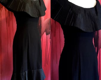 Little Black Dress, Vintage 1960s Pleated Collar Dress Mam'Selle by Betty Carol, Accordian Pleat Collar and Bottom, Wiggle Dress on SALE