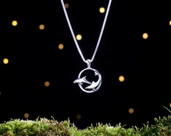 Sterling Silver Dolphins - Small - Best Friends, Mother Daughter Necklace - (Pendant or Necklace)