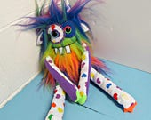 Handmade Monster Plush - OOAK Plush Monster Toy - Hand Embroidered Stuffed Monster - Neon Rainbow Faux Fur Monster - Cute Weird Plush Toy