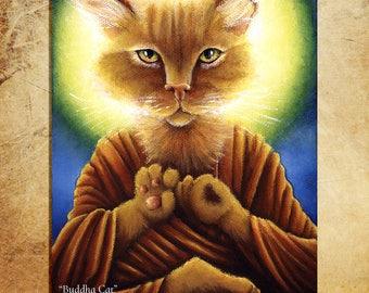 Buddha Cat Ginger Tabby Meditating 8x10 Fine Art Reproduction Print