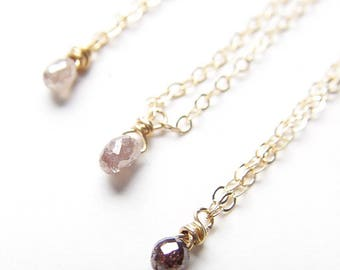 Champagne Diamond Gold Necklace OOAK