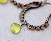 Chalcedony Earrings | Boho Rustic Earrings | Copper Hoop Earrings | Beaded Hoop Earrings | Moonstone | Stone Bead Earrings | Gift for Her