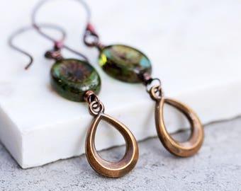Boho Rustic Earrings | Czech Glass Earrings | Vintage Brass Charm | Copper Earrings | Green Earrings | Fall Jewelry | Bohemian Jewelry