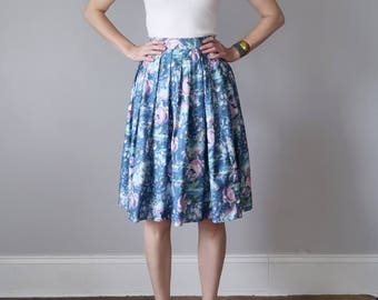 60s blue floral print watercolor high waist pleated skirt (xs - s)