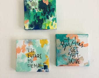 Three mini feminist paintings series C - bright colors - bold art- unbreakable - the future is female - vive le feminisme