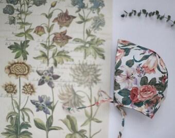 Vintage Floral Bonnet | Modern Bonnet | Floral Baby Bonnet | Toddler bonnet | Floral Sunhat | Baby Bonnet | Vintage Bonnet | Baby Sunhat