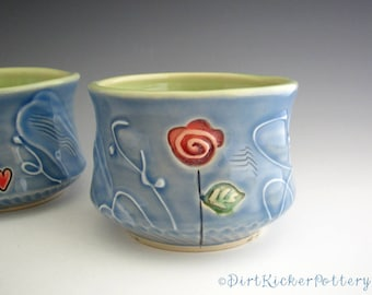 Yunomi Tea Bowl in Blue and Lime with Red Rose - Pottery Tea Bowl - by DirtKicker Pottery