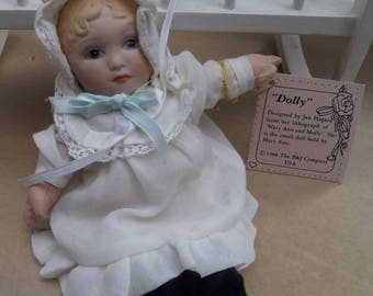 "Vintage Jan Hagara ""Dolly"" Miniature 6"" Bisque Baby Doll Hand Paint"