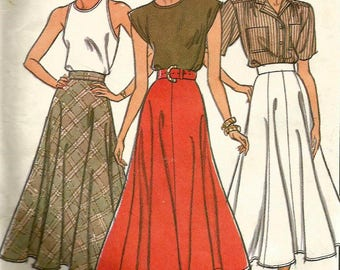 Vintage 80s Style 1021 UNCUT Misses Gored Flared Midi Skirt Sewing Pattern Size 16 Waist 30