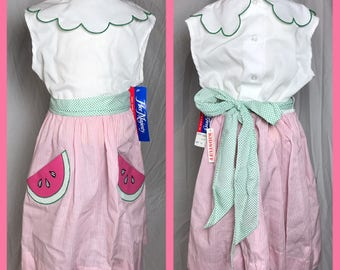 1980s Little Girl's Petal Collar Dress with Watermelon Pockets Summer Dress by Her Majesty - Size 6X