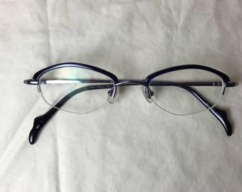 Martine Sitbon 6592 Violet Browline Glasses Partial Rim with PRESCRIPTION lenses