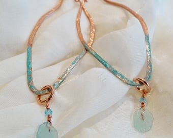Interchangeable Oval Copper Patina Hoop Earrings with Ancient Roman Glass and Ruby Fucte Drop Accents