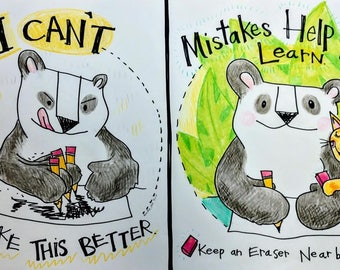 Mistakes Help me Learn! Panda Growth Mindset Poster