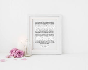 Custom Wedding Print, Wedding Vows, Wedding Gift, Newlywed Gift, Anniversary Gift, Custom Vows Print, Wedding Print, Wedding Vows Print