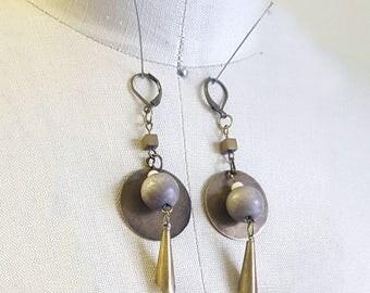 Long Earring / Fringe Earring / Antique brass Earring / Metal Earring / Geometric Earring / Wood Earring / Boho Earring / Boho Jewelry