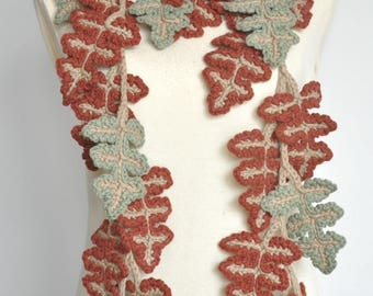 All Leaves - Cotton - Brick Red - Crochet Leaf Scarf
