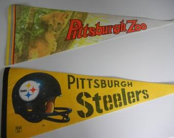 Pittsburgh souvenir pennants / Steelers yellow black / Zoo lion cub / RV decor / 1970s era / kitsch / helmet / NFL