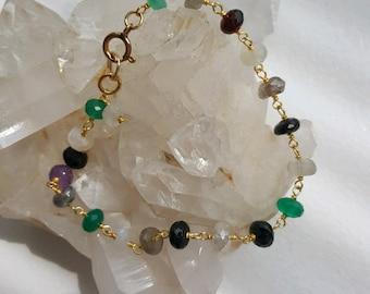 Beautiful rosary multi-stone bracelet, GF clasp