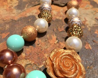 Fashion girl necklace. Kids jewelry. Mint green. Coral. Gold. Gold foil rose. Princess necklace. Gift for girls. Bubblegum bead necklace.