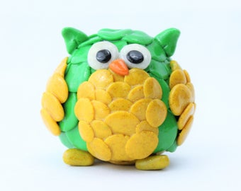 Green and Yellow Polymer Clay Owl