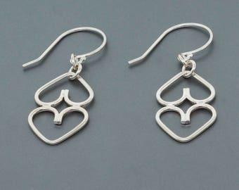 Sterling Silver Heart Earrings • Silver Earrings Gift for Her • Handmade Jewelry • Dangle Earrings • Drop Earrings • Everyday Earrings