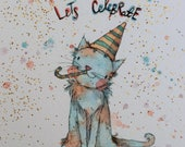 Let's celebrate - set of 2 whimsical festive large blank A5 kitty cards - shipping included