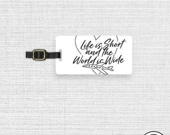 Luggage Tag Life is Short And The World is Wide Plane Luggage Tag - Single Tag
