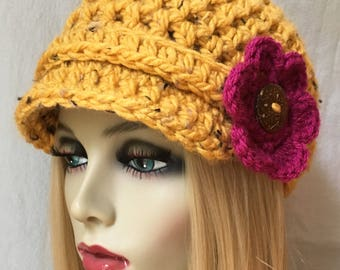 Womens Hat, Beanie, Flower,  Honey, Yellow, Specks, Chunky, Warm. Teens, Winter, Ski Hat, Birthday Gifts for Her, JE26N1