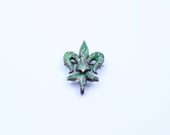 Sterling & Enamel Fleur De Lis Pin Brooch Watch Pin