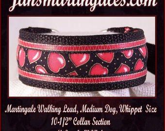 Jansmartingales, Collar and Leash Combination Walking Lead, Whippet, Medium Dog Size, wblk223