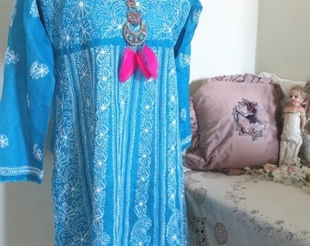 turquoise indian dress, resort wear, holiday dress, INCREDIBLE complex embroidery, long blue top, blue indian dress