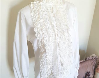 vintage 60s blouse, 60s clothing, 60s ruffle shirt, 1960s costume, amazing lace and cuffs