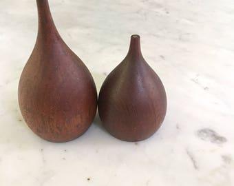 Vintage Teak Wood Salt Pepper Shakers Tear Drop Takahashi