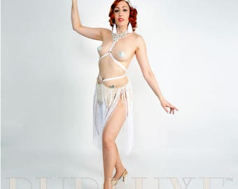 Super Long Black or White Fringe and Gold Tone Chain Burlesque Shimmy Belt with Elastic and Circle Detail Made to Order
