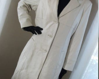 1930s Style Vintage White Leather Coat Wilsons Pelle Studio Unisex Mint Cond Gorgeous One Size