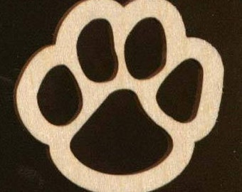 6 pieces Tiger 4 inch Paw Prints Unfinished Craft Wood Cutouts 1447