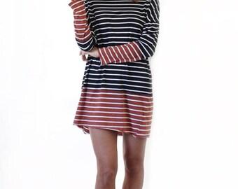 Cotton Dress, Striped Dress, Long Sleeve Dress, Shirt Dress, Black & White Dress, Tunic Dress, Day Dress, Midi Dress, Loose Dress