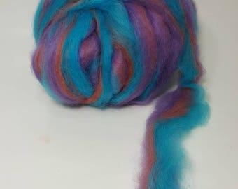 Suri Alpaca Roving. Hand Dyed, Silky Soft Roving,  Striped Suri Alpaca Roving, Emerald City